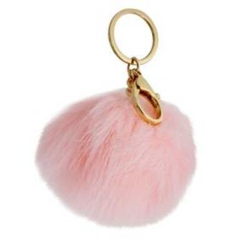 Women's Key Ring Pompom with Fur- Gold/Pink : Target