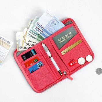 CREYCI7 High Quality Multifunctional Travel Accessories Passport Bags Travel Document Organizer Large Capacity Oxford Passport Wallets