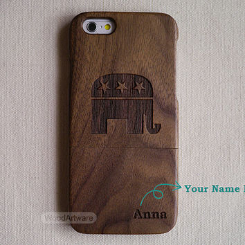 Elephant iPhone 5 case, Wood iPhone 6 case, Wood iPhone 5C case, Wooden iPhone 5S case, Republican elephant, Custom Wood iPhone case - B5