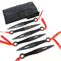 """6Pc Set Throwing Knives Sharp Point Blades with Sheath 6"""" Length Stainless Steel"""