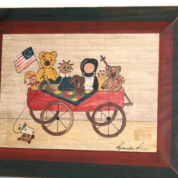 Painting on Wood - Toys in a Wagon - Signed art - Vintage