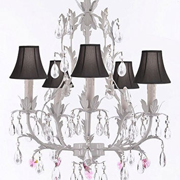 White Wrought Iron Floral Chandelier Lighting W/ Pink Hearts And Shades! - G7-Sc/Blackshade/B21/White/407/5
