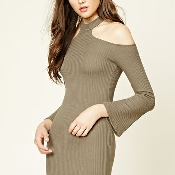 Ribbed Choker Neck Dress