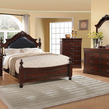 5 pc gwyneth ii collection cherry finish wood with black padded and intricate design carvings on the headboard and footboard queen bedroom set