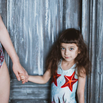 Girls swimsuit, One piece swimsuit, Girls bathing suit Baby girls swim suit, Modest girls swimwear, Kids retro swimsuit STARFISH BLUSH