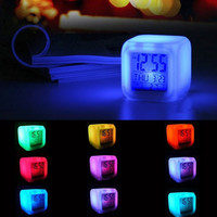 New 7 Color LED Change Digital Glowing Alarm Clock Noctilucence Home Bedroom Children Kids Gift