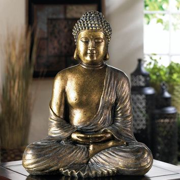 Sitting Metallic Like Bronze Finish Buddha Statue