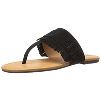 BC Footwear Womens Dinky Suede Fringe Thong Sandals