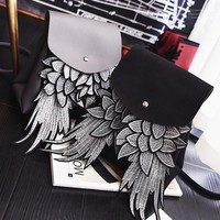 Woman fashion backpack with wing good quality unique design pu lady bag