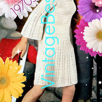 Dress CROCHET Pattern Vintage 1970s Twist Bell Sleeve Dress Crochet Pattern Retro Ladies Summer Dress Pattern INSTANT Download Pdf Pattern