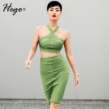 CREYHY3 Hego 2016 New Sexy Solid White Cropped Top Spaghetti Strap 2 Piece Set Bandage Dress