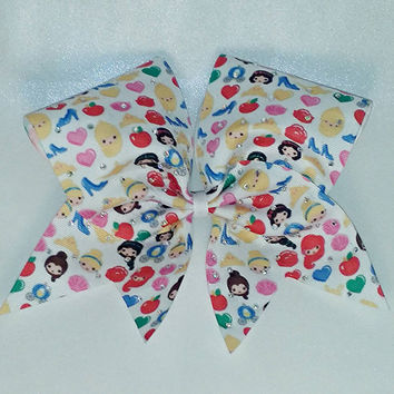 Disney Princess Emoji Bow- 3 Inch Texas Sized - Cheer Party - Theme Practice - Birthday Gift - Ponytail Accessory