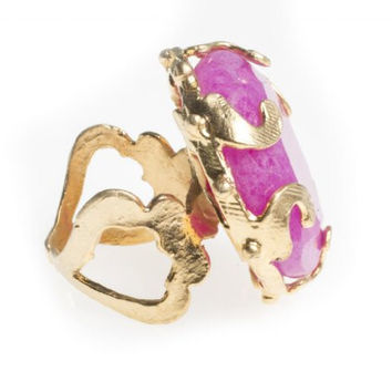 24K Yellow Gold Plated Hot Pink Agate Natural Stone Antique Floral Filigree Design Adjustable Ring
