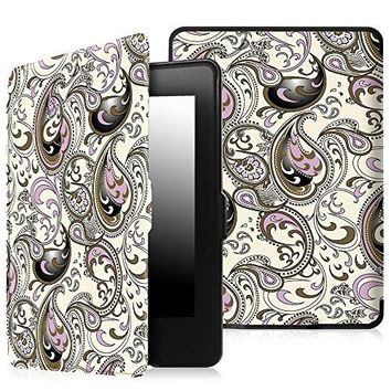 Fintie SmartShell Case for Kindle Paperwhite - The Thinnest and Lightest PU Leather Cover Auto Sleep / Wake for All-New Amazon Kindle Paperwhite (Fits All 2012, 2013, 2015 and 2016 Versions), Paisley