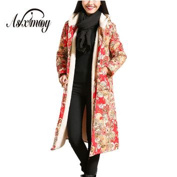 Warm Velvet Winter Coat Women Thick Vintage Floral Print Long Jacket Park Female Lambswool Hooded Coat 2017 Lady's Outwear Coats