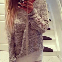 Grey Long Sleeves Lace Patchwork Loose Top