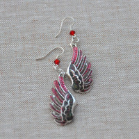 Angel Wing Earrings Gothic Wings earring, Hand painted wing earrings, Black and red wings, demon wings earrings, red devil wings earrings