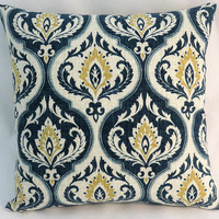 """Indigo Blue and Gold Medallion Pillow, Ogee  Floral on Beige Cotton, 17"""" Square,  Cover Only or Insert Included"""