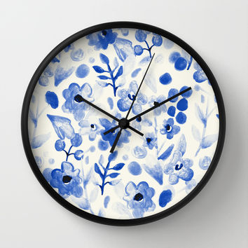 Blue China - Watercolor Floral Wall Clock by Tangerine-Tane