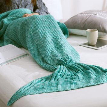 Mermaid Tail Blanket Yarn Knitted Handmade Crochet Mermaid Blanket Kids Throw Bed Wrap Super Soft Sleeping Bed 3 Sizes Bedding