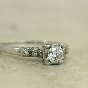 Vintage Engagement Ring Diamond Ring 18k White Gold Ring Mid Century Wedding Ring Estate Ring Antique Ring Jabel Ring Size 6.25