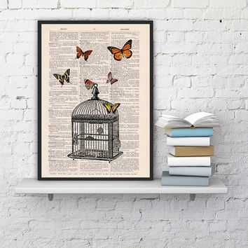 Wall hanging , Poster print Release the butterflies - Butterflies  and cage dictionary art, dorm decor gift girlfriend , wall art print