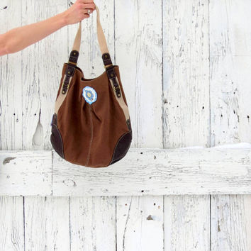 Brown boho purse- upcycled hobo bag- hippie chic shoulder bag- brown indie fashion- eco fashion accessory