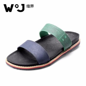 WJ Summer PU Sewing Casual Men Shoes Sandals Mixed Color Slippers Mixed Flat Beach Men Shoes