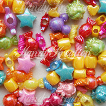 50 Mixed AB Pony Beads for Kandi Rave Raver Craft Shiny Kid Candy Stars Hearts deco Bubblegum Necklaces Bracelets Candy Round mix Chunky Kid
