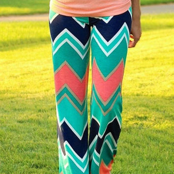 Green Chevron Geo Patterned Palazzo Pants