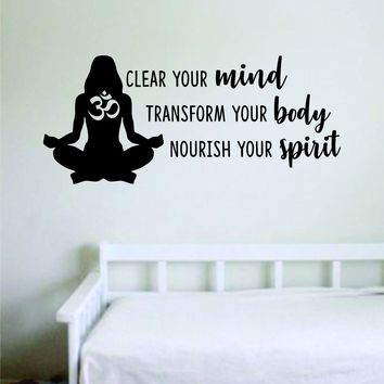 Clear Your Mind Quote Wall Decal Sticker Bedroom Room Art Vinyl Home Decor Inspirational Teen Yoga Good Vibes