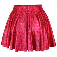 Red Scale Print Skater Skirt