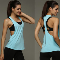 8 Colors Summer Sexy Women Tank Tops Dry Quick Loose Gym Fitness Sport Sleeveless Vest Singlet for Running Training