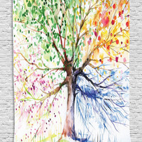 Tapestry Four Seasons Abstract Modern Painting Artistic Artwork Relax Design Magical Tree Watercolor View Theraphy Theme Digital Tapestry Wall Hanging for Living Room Bedroom, Blue Green Orange Purple