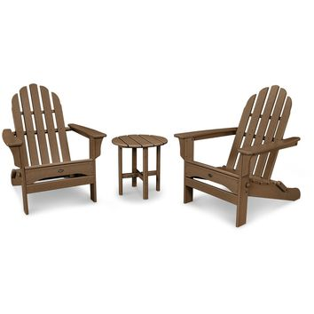 Trex Outdoor Furniture Cape Cod Folding Adirondack Set with Side Table