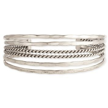 Hammered & Twisted Lines Cuff Bracelet