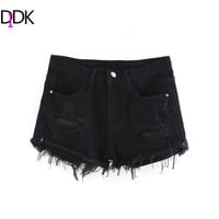 DIDK Women Frayed Black Denim Shorts New Arrival Ladies With Pockets Summer Zipper Fly Mid Waist Casual Ripped Shorts