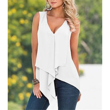 Deep V Neck Handkerchief cut Chiffon Sleeveless Blouse