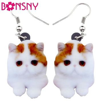 Bonsny Acrylic Cartoon Sweet Cat Kitten Earrings Big Long Dangle Drop Cute Animal Jewelry For Women Girls Ladies Kids Gifts Bulk
