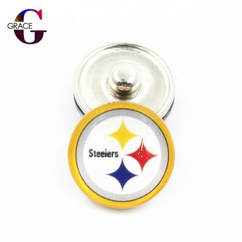 Pittsburgh Steelers Football Team Sports Charms 18mm Replaceable Ginger Glass Snap Buttons Fit Snap Jewelry Bracelets&Bangles