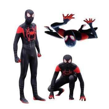 New Spider-Man: Into the Spider-Verse Miles Morales Cosplay Costumes Superhero Zentai Black Red Spider Man Bodysuit Jumpsuits
