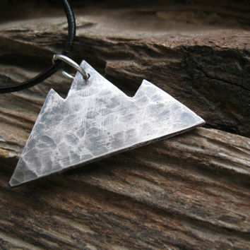 Silver mountain necklace, rustic mountain range pendant, mountain peaks necklace, hand hammered oxidized silver, handcrafted gift for hiker