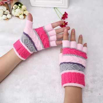 Lady Fingerless Knitted Gloves Candy Color Half Fingers Wrist Mittens Winter Playing Computer Flower Retro Patterns Women Gloves