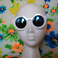 Oversized Round White Sunglasses Vintage Circle Mirror Glasses - Solange
