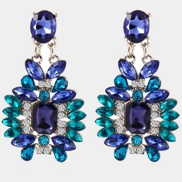 like cakes Shijie statement elegant blue stone jewelry factory glossy resin earrings plant