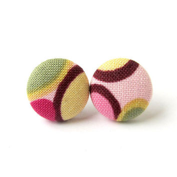 Tiny post earrings - retro stud earrings - small fabric earrings - vintage style button earrings - olive green mustard yellow brown pink 70s