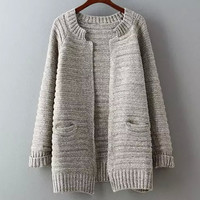 Pure Color Inserted Rotator Cuff Pockets Cardigan Sweater