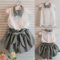 New 2016 summer baby girl clothing Sets fashion Cotton print Sleeveless T-shirt and Bow skirts girls clothes  suits