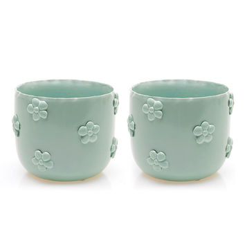 Ceramic Daisy Pot - Set of 2
