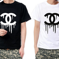 Dripping Chanel Logo top tee Screen printed T-Shirt  Style Hip Hop tshirt  Fashion